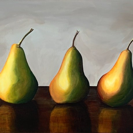 (CreativeWork) More than a pear by Hayley Kruger. Acrylic Paint. Shop online at Bluethumb.