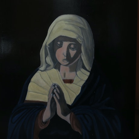 (CreativeWork) Mother Mary by Tony E Perks. Oil Paint. Shop online at Bluethumb.
