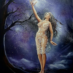 (CreativeWork) Always Reach for the Stars by Rhonda Armistead. oil-painting. Shop online at Bluethumb.