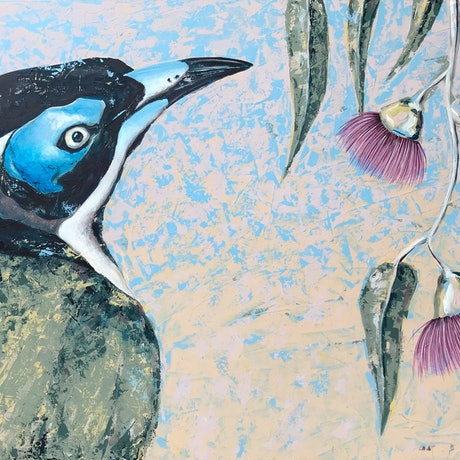 (CreativeWork) Blue faced honeyeater by Kylee Rees. Acrylic Paint. Shop online at Bluethumb.