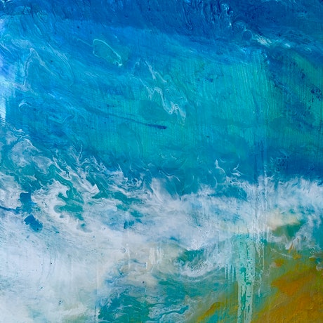 (CreativeWork) Ocean Waves by Anna Barnes. Resin. Shop online at Bluethumb.