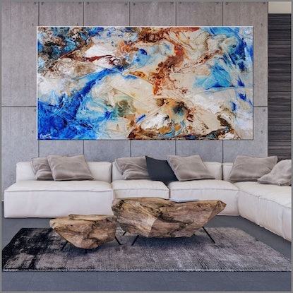 (CreativeWork) Rusted Liquification 190cm x 100cm Blue Textured Ink Abstract Gloss Finish FRANKO   by _Franko _. Acrylic Paint. Shop online at Bluethumb.