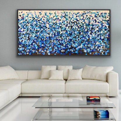 (CreativeWork) Pluie 183x93 framed large abstract by Sophie Lawrence. Acrylic Paint. Shop online at Bluethumb.