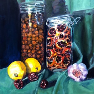 (CreativeWork) Olives, Zizyphus and Oranges by Maureen Finck. #<Filter:0x00007f7bb0c484b0>. Shop online at Bluethumb.