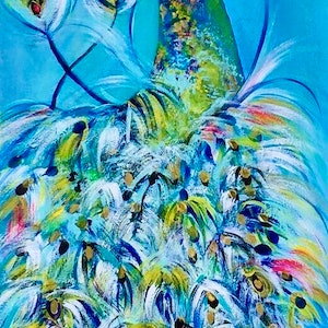 (CreativeWork) Feathering Touch by Carol Lindsay. mixed-media. Shop online at Bluethumb.