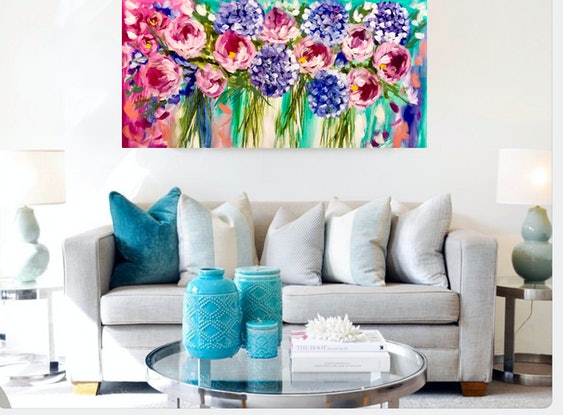 (CreativeWork) peony and spring hydrangea  by Amanda Brooks. #<Filter:0x0000557f996d99d0>. Shop online at Bluethumb.
