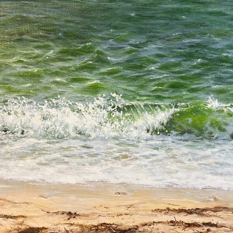 (CreativeWork) Emerald Waters by Janet Claydon. Oil Paint. Shop online at Bluethumb.