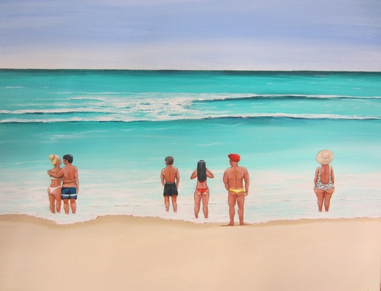 (CreativeWork) Drawn by the sea by Andrea Berry. Acrylic Paint. Shop online at Bluethumb.