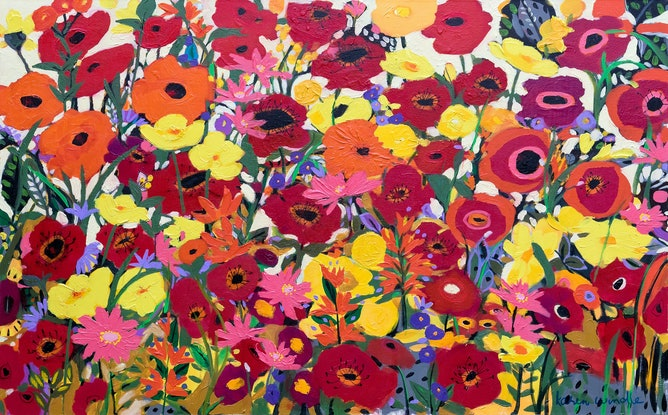 (CreativeWork) My Happy Place by Karen Windle. Acrylic Paint. Shop online at Bluethumb.