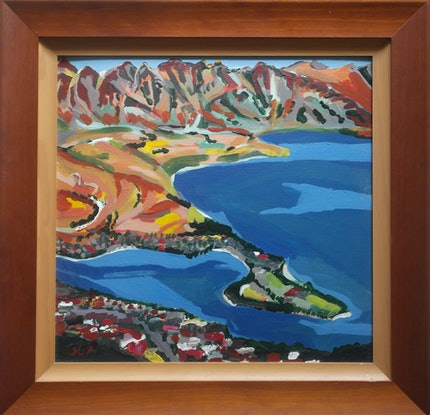 (CreativeWork) View down to Queentowns NZ by Steven Pooley. Acrylic Paint. Shop online at Bluethumb.