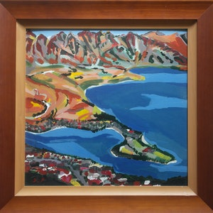 (CreativeWork) View down to Queentowns NZ by Steven Pooley. acrylic-painting. Shop online at Bluethumb.