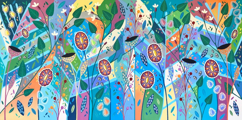 (CreativeWork) Blooming Marvelous by Lisa Frances Judd. Acrylic Paint. Shop online at Bluethumb.