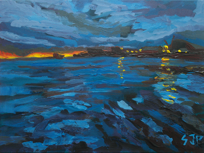 (CreativeWork) Stormy Sunset Bathers Beach, Fremantle WA by Steven Pooley. acrylic-painting. Shop online at Bluethumb.