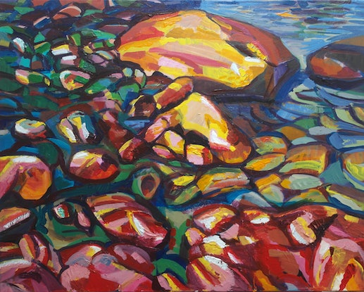 (CreativeWork) Canal Rocks, WA by Steven Pooley. Acrylic Paint. Shop online at Bluethumb.