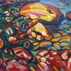 (CreativeWork) Canal Rocks, WA by Steven Pooley. acrylic-painting. Shop online at Bluethumb.