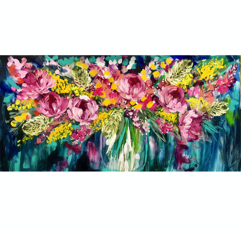 (CreativeWork) Wild peony and golden  wattle  by Amanda Brooks. acrylic-painting. Shop online at Bluethumb.