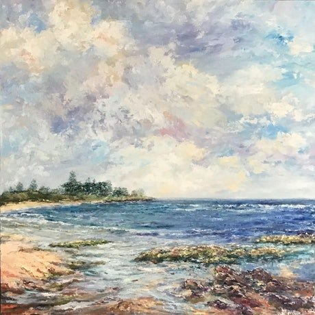 (CreativeWork) Towards Green Point, oil on canvas by Sharon DeSailly. Oil Paint. Shop online at Bluethumb.