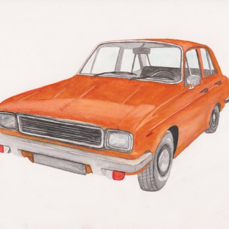 (CreativeWork) Classic car painting (Hillman Hunter GL) by Max Sabet. Watercolour Paint. Shop online at Bluethumb.