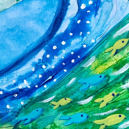 (CreativeWork) Fairy Penguin Swirl  by Anna Just. Mixed Media. Shop online at Bluethumb.
