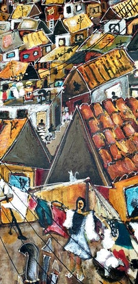 (CreativeWork) Stormy Sky Favela  by Nicholas Broughton. Mixed Media. Shop online at Bluethumb.