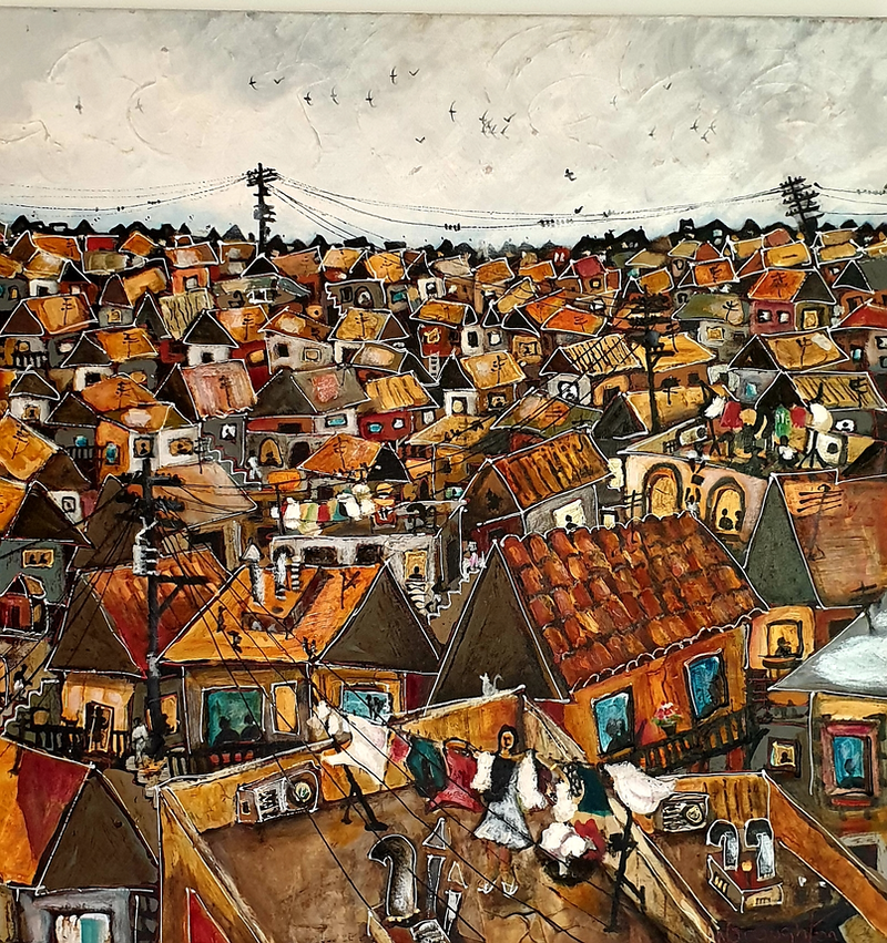 (CreativeWork) Stormy Sky Favela  by Nicholas Broughton. mixed-media. Shop online at Bluethumb.