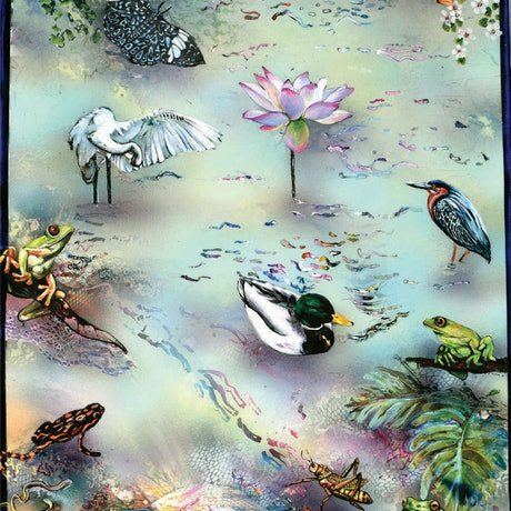 (CreativeWork) Pond Life by Bronwyn Doherty. Acrylic Paint. Shop online at Bluethumb.