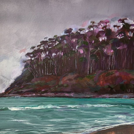 (CreativeWork) The Inlet I by Kate Gradwell. Acrylic Paint. Shop online at Bluethumb.