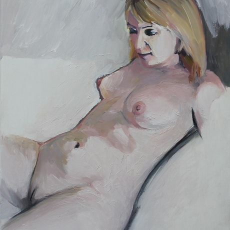 (CreativeWork) Nude 5 (Knowing Study) by Glenn Miller. Oil Paint. Shop online at Bluethumb.