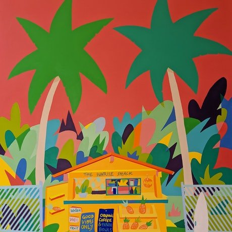 (CreativeWork) Sunrise Shack by Bruno Mota. Acrylic Paint. Shop online at Bluethumb.