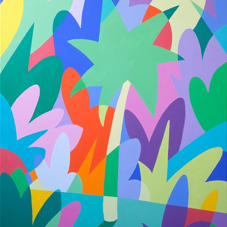 (CreativeWork) Find me under a palm tree by Bruno Mota. Acrylic Paint. Shop online at Bluethumb.