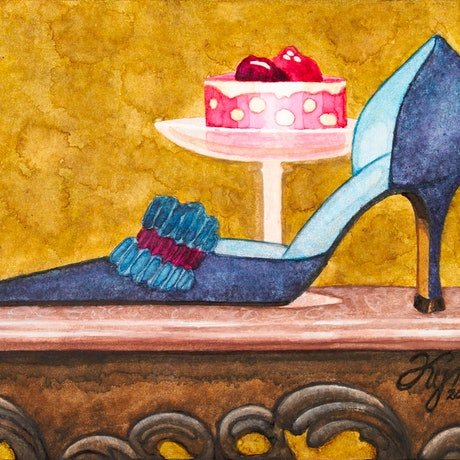 (CreativeWork) 'Single Monolo and Cake' (Limited Edition Signed Giclee Print Stretched on CANVAS) Size: A1        Ed. 2 of 150 by Kymberly Stolliday. Print. Shop online at Bluethumb.