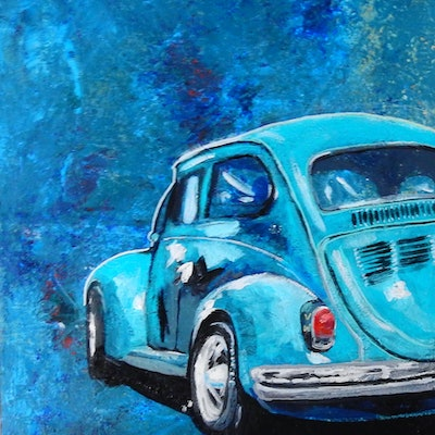 (CreativeWork) Nostalgia - VW Beetle by Julie Hollis. acrylic-painting. Shop online at Bluethumb.