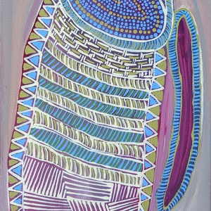 (CreativeWork) ' Woven ' Aboriginal crafts/2 by Karen Lee. acrylic-painting. Shop online at Bluethumb.