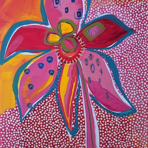 (CreativeWork) 'Spider Orchid' Australian flowers by Karen Lee. acrylic-painting. Shop online at Bluethumb.
