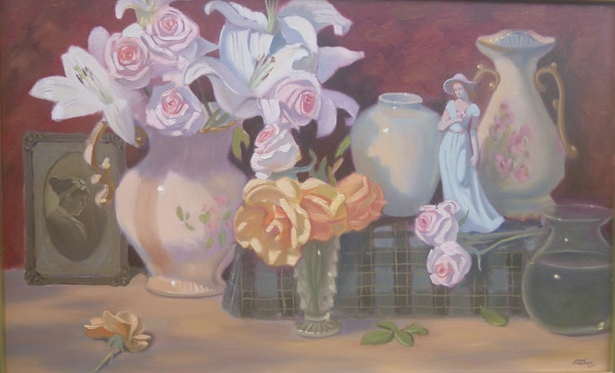 (CreativeWork) FLOWERS FOR A BLUE LADY. by Glen Gillard. Oil Paint. Shop online at Bluethumb.