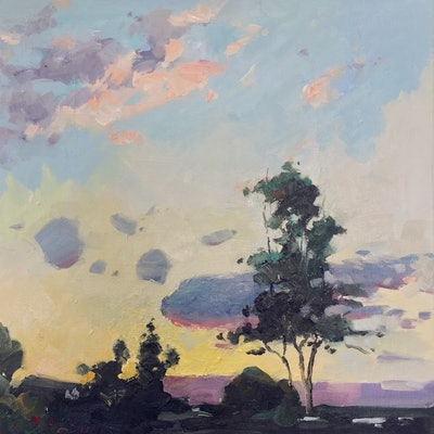(CreativeWork) Days End (Framed) by Li Zhou. oil-painting. Shop online at Bluethumb.