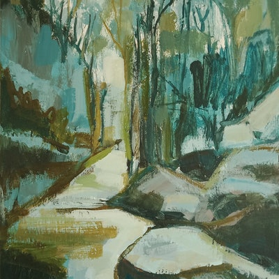 (CreativeWork) DOWNSTREAM by Karen McPhee. acrylic-painting. Shop online at Bluethumb.