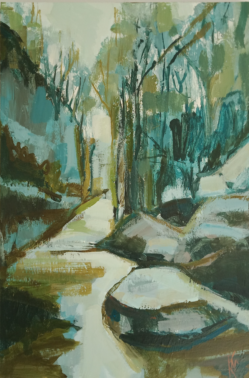 (CreativeWork) DOWNSTREAM by Karen McPhee. Acrylic Paint. Shop online at Bluethumb.