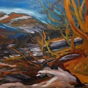 (CreativeWork) Charlotte Pass - Newly Framed by ALAN HEATHER-XIA. oil-painting. Shop online at Bluethumb.