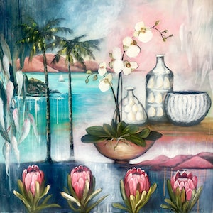 (CreativeWork) Passionfruit Long Island Iced Tea by Lisa Wisse-Robinson. acrylic-painting. Shop online at Bluethumb.