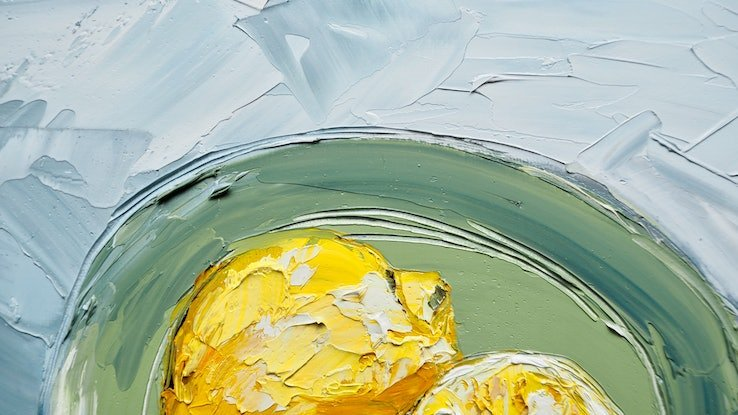 (CreativeWork) 'Simple Things' Impasto Lemons  by Michelle Keighley. Oil Paint. Shop online at Bluethumb.