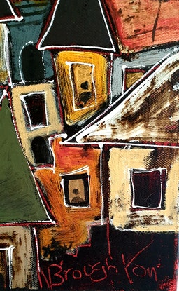 (CreativeWork) Grey sky Favela by Nicholas Broughton. Mixed Media. Shop online at Bluethumb.