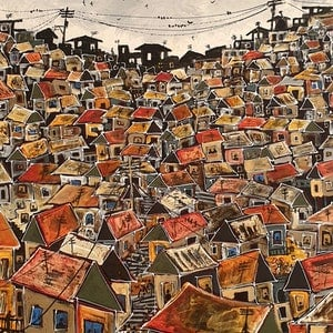 (CreativeWork) Grey sky Favela by Nicholas Broughton. mixed-media. Shop online at Bluethumb.