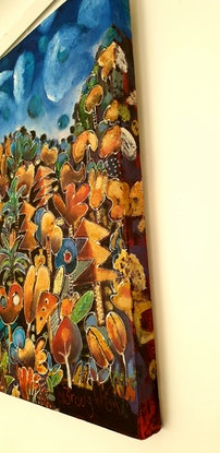 (CreativeWork) Tropical Funky Forest  by Nicholas Broughton. Mixed Media. Shop online at Bluethumb.