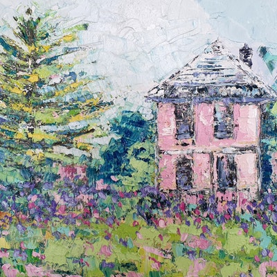 (CreativeWork) Pink House by ASH Art. oil-painting. Shop online at Bluethumb.