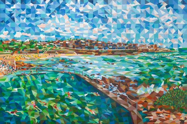 (CreativeWork) bronte pool and beach by mary shackman. Print. Shop online at Bluethumb.