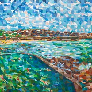 (CreativeWork) bronte pool and beach by mary shackman. #<Filter:0x00007f3c24cff320>. Shop online at Bluethumb.
