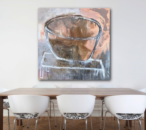 (CreativeWork) Coral Vessel on White Table #1 by Dan Mason. Mixed Media. Shop online at Bluethumb.