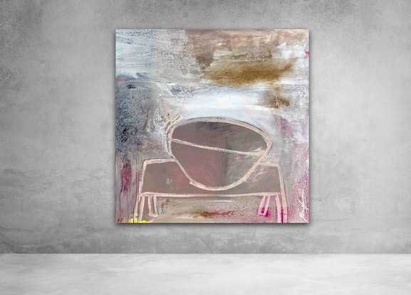(CreativeWork) White Vessel on White Table #1 by Dan Mason. Mixed Media. Shop online at Bluethumb.