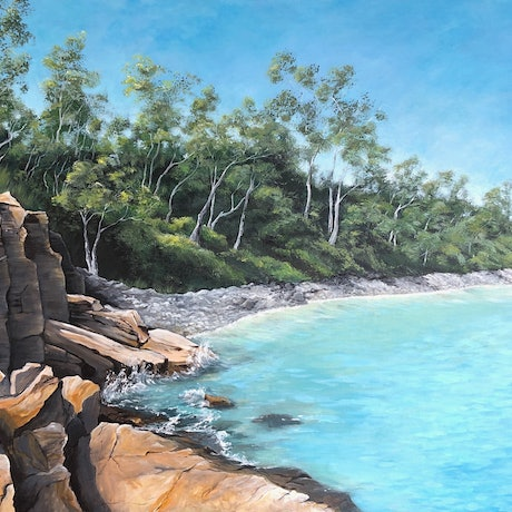 (CreativeWork) Little Cove, Noosa by Rebecca Phillips. Acrylic. Shop online at Bluethumb.